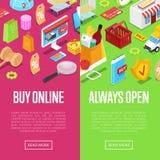 Manifesti isometrici 3D di acquisto online illustrazione di stock