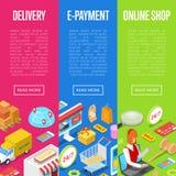 Manifesti isometrici online 3D di e-pagamento e di acquisto illustrazione vettoriale