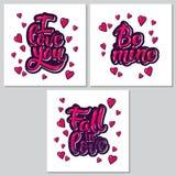 Manifesti ispiratori di motivazione dell'iscrizione della mano per il giorno di biglietti di S. Valentino Fotografia Stock Libera da Diritti