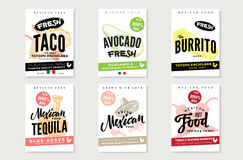 Manifesti messicani dell'alimento di schizzo illustrazione vettoriale