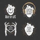 Manifesti romantici con cuore umano, mani di scheletro, grammofono uff Fotografia Stock