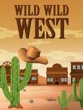 Manifesto ad ovest selvaggio con le costruzioni in deserto royalty illustrazione gratis