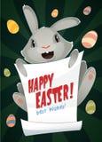 Manifesto allegro del messaggio della tenuta del coniglietto di pasqua Insegna del fumetto Immagini Stock