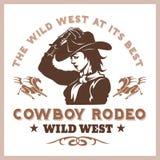 Manifesto americano del rodeo del cowboy illustrazione vettoriale