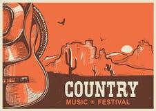 Manifesto americano di musica country con il cappello da cowboy e la chitarra Immagine Stock Libera da Diritti