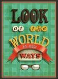 Manifesto antiquato - esamini il mondo nei nuovi modi illustrazione di stock