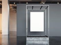 Manifesto bianco che appende in una vetrina del metallo rappresentazione 3d Fotografia Stock Libera da Diritti