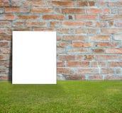 Manifesto in bianco con il muro di mattoni ed il prato inglese verde Immagine Stock