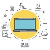 Manifesto bianco del fondo del cellulare app con il computer portatile nel cerchio giallo e nelle icone comuni intorno Immagine Stock