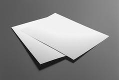 Manifesto in bianco dell'aletta di filatoio isolato su grey Fotografia Stock Libera da Diritti
