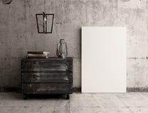Manifesto in bianco della tela sull'interno rustico concreto della parete Fotografie Stock Libere da Diritti