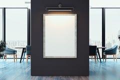 Manifesto in bianco bianco della tela sulla parete scura in ufficio luminoso moderno, rappresentazione 3d royalty illustrazione gratis