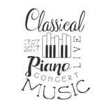 Manifesto bianco di Live Music Concert Black And del piano classico con testo e la tastiera calligrafici Fotografia Stock Libera da Diritti