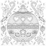 Manifesto in bianco e nero di tema del nuovo anno con le decorazioni, il nastro ed i fiocchi di neve Pagina del libro da colorare royalty illustrazione gratis