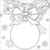 Manifesto in bianco e nero di tema di Natale con il ramo di albero, le decorazioni, il nastro ed i fiocchi di neve illustrazione vettoriale