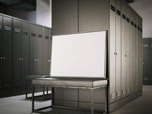Manifesto bianco su un banco nello spogliatoio rappresentazione 3d Immagine Stock