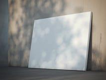 Manifesto in bianco vicino alla parete rappresentazione 3d Immagini Stock