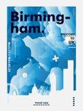 Manifesto BRITANNICO di vettore di pendenza della città dell'orizzonte del Regno Unito Birmingham Fotografie Stock Libere da Diritti