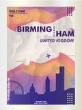 Manifesto BRITANNICO di vettore di pendenza della città dell'orizzonte del Regno Unito Birmingham Fotografia Stock