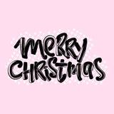 Manifesto calligrafico moderno dell'iscrizione di Buon Natale illustrazione di stock