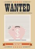 Manifesto carente del porcellino salvadanaio Immagini Stock