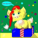 Manifesto, cartolina, insegna con un gatto del fumetto con un cappuccio di natale che si siede su un contenitore di regalo con i  illustrazione di stock