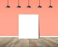Manifesto che sta nella sala con la lampada del soffitto royalty illustrazione gratis