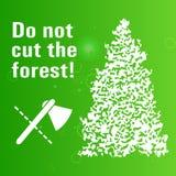 Manifesto che vieta legno tagliato Fotografia Stock Libera da Diritti
