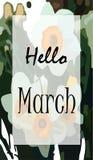 Manifesto ciao marzo illustrazione di stock
