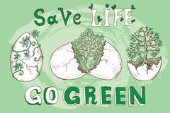 Manifesto con gli alberi in coperture e testo dell'uovo Fotografia Stock Libera da Diritti