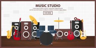 Manifesto con gli strumenti musicali Studio di musica Chitarra Progettazione piana illustrazione vettoriale