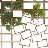 Manifesto con i francobolli e l'albero di Natale Fotografie Stock Libere da Diritti
