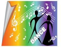 Manifesto con i motivi musicali ed i ballerini illustrazione vettoriale