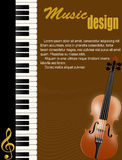 Manifesto con il piano ed il violino Fotografia Stock