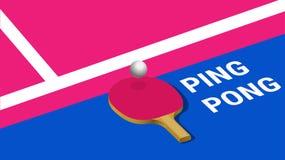 Manifesto con il rimbalzo di palla da ping-pong sulla racchetta sul campo del gioco illustrazione vettoriale