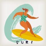 Manifesto con il surfista sulle onde di cattura del surf in oceano La spiaggia e i surfings progettano per il manifesto, la magli Fotografia Stock Libera da Diritti