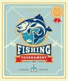 Manifesto con l'annuncio dei tournamen di pesca illustrazione di stock