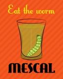Manifesto con l'immagine della tequila con il verme su fondo arancio Immagine Stock