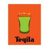 Manifesto con l'immagine della tequila su fondo arancio Fotografia Stock