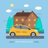 Manifesto con la carrozza gialla a macchina nella città Servizio pubblico del taxi Fotografia Stock
