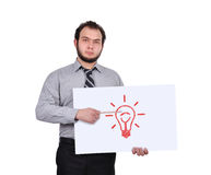 Manifesto con la lampada Fotografie Stock