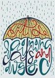 Manifesto con la siluetta dell'ombrello e dell'iscrizione illustrazione vettoriale
