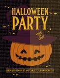 Manifesto con la zucca di Halloween Scheda dell'invito del partito di Halloween Illustrazione di vettore Fotografia Stock