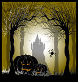 Manifesto con le zucche per Halloween Fotografia Stock