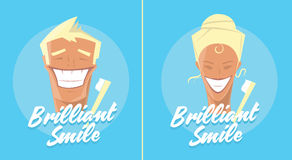 Manifesto con sorridere della donna e dell'uomo Pubblicità sana bianca dei denti, dello spazzolino da denti o del dentifricio in  Fotografie Stock