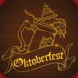 Manifesto con Stein Beer Design scolpito legno per Oktoberfest, illustrazione di vettore Fotografia Stock