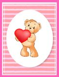 Manifesto con Teddy Bear Holding Heart Balloon sveglio Immagini Stock