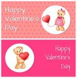 Manifesto con Teddy Bears Holding Heart Balloon sveglio Immagine Stock