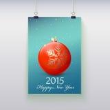 Manifesto con una palla di Natale su  Fotografia Stock Libera da Diritti