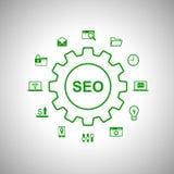 Manifesto concettuale di parola di SEO con molte icone di web Fotografie Stock